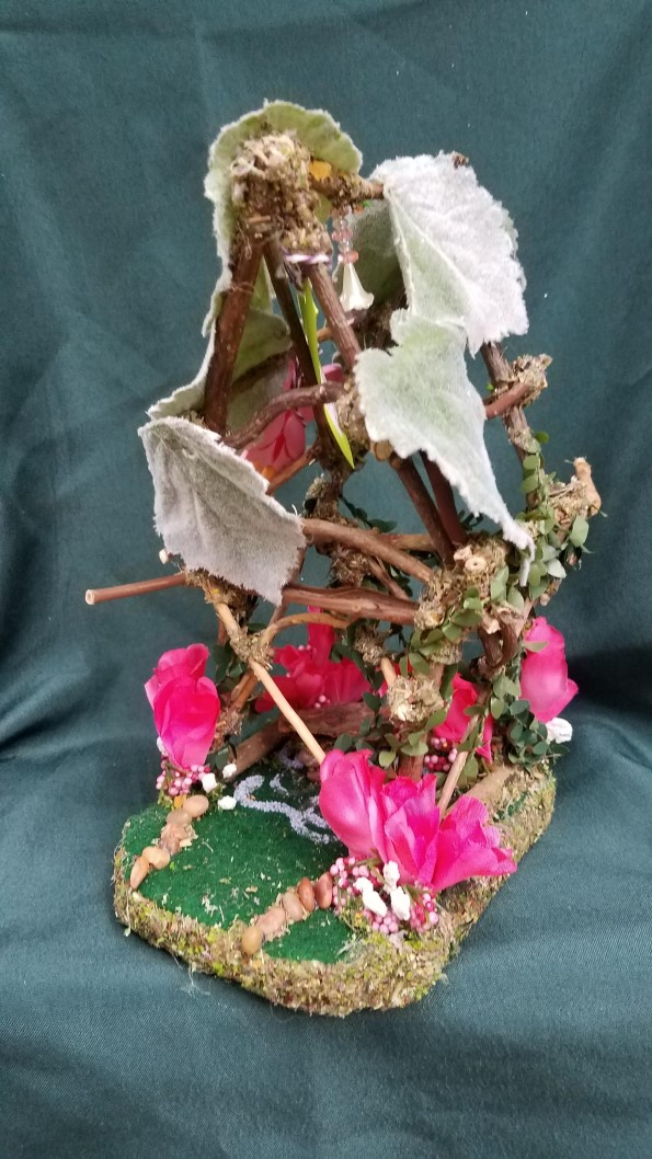Twig Fairy House - Pink Flowers - Leaf Roof -  Table - Fairy Garden - Fairy Doll Included - 9