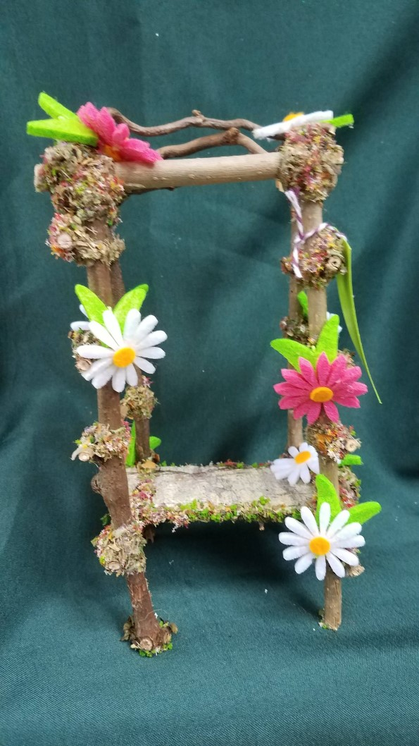Twig Gazebo with White and Pink Daisies - 7'' Tall - Fairy - Fairy Garden - Doll House - Hand Made