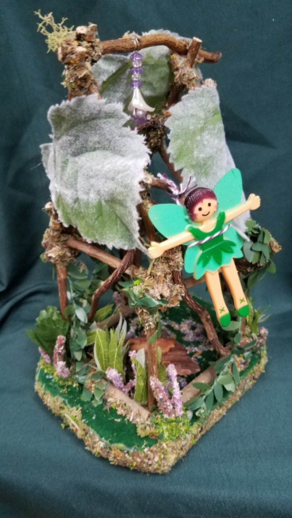 House - 14'' Tall - Lights Up - Fairy Garden - Twigs - Flowers - Swinging Bed - Table - Bird Nest - Fairy Doll Included!