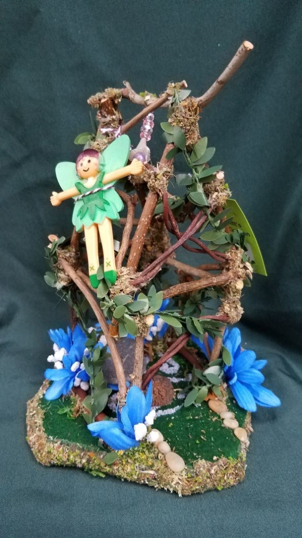 Fairy Garden House with Blue & White Flowers Fairy Doll Included