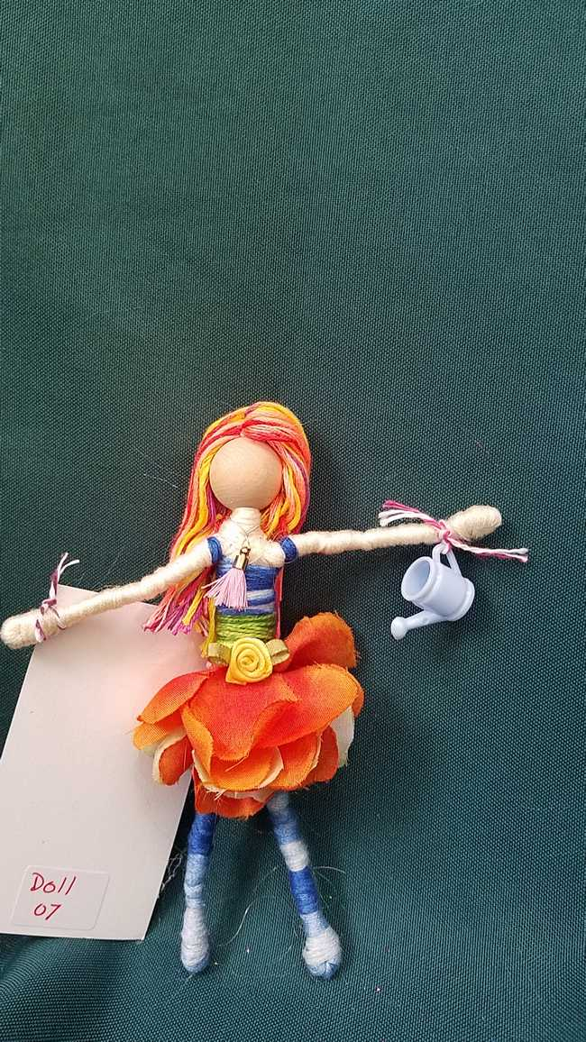 Fairy Doll & Accessories - 11 Piece Set -  Orange Hair - Orange Petal Skirt -  6