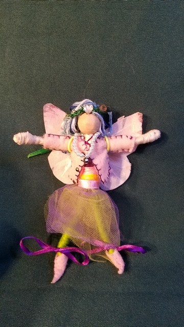 Deluxe Fairy Doll - Removable Clothes - Blue & Green Hair -  Purple & Green Skirt - Pink Jacket - 6