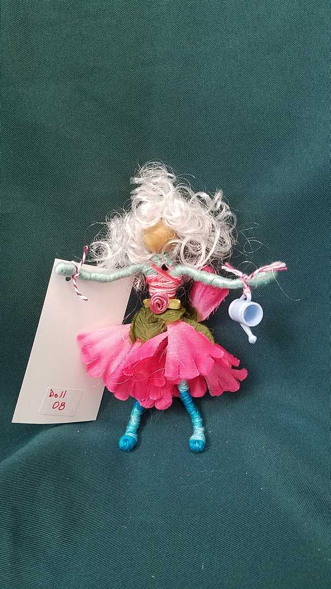 Fairy Doll & Accessories - 11 Piece Set -  White Hair - Pink Petal Skirt -  6