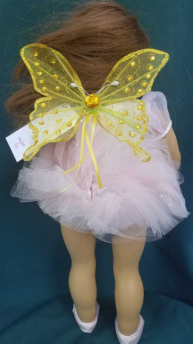 Fairy Wings for 18'' Doll - Yellow Butterfly - Yellow Ribbons - Removable - Doll Clothes - American Girl