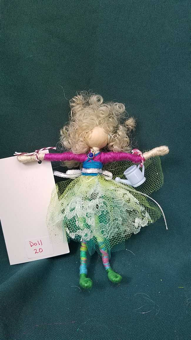 Fairy Doll & Accessories - 11 Piece Set -  Yellow Hair - Blue Lace Skirt -  6