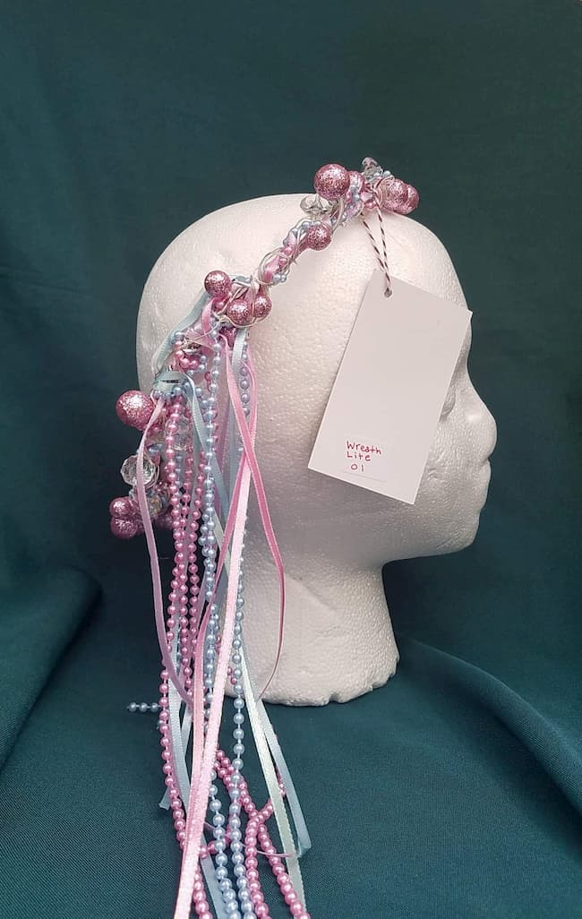 Lighted Hair Wreath with Pearls & Ribbons White/Pink/Blue