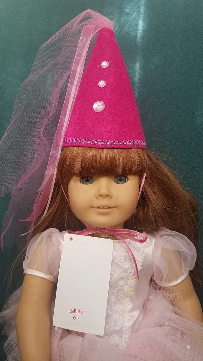 Fairy Princess Doll Hat - Pink - White Pearls - Doll Clothes - Fits 18