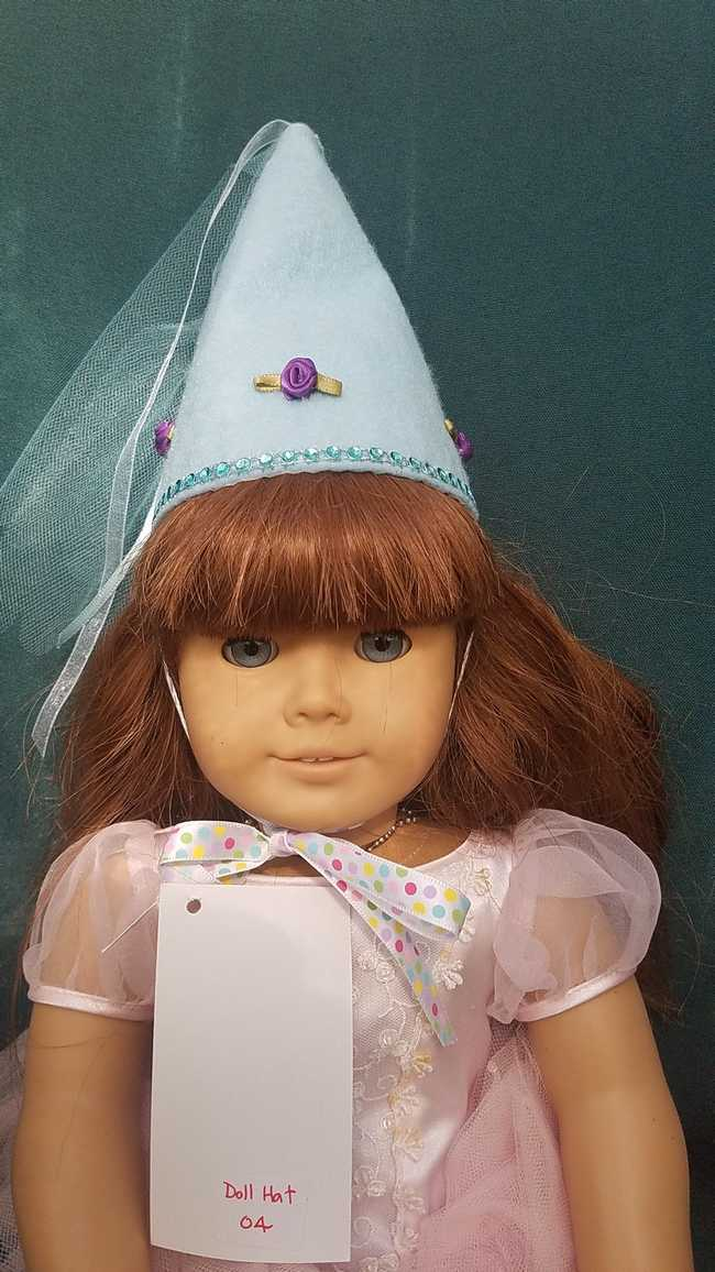Fairy Princess Doll Hat - Light Blue - Purple Roses - Doll Clothes - Fits 18