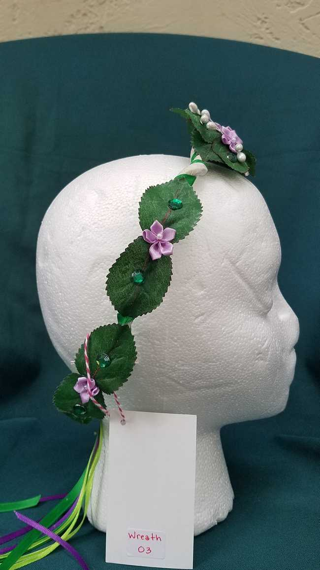 Hair Wreath with Green and Purple Ribbon - Lavender Flowers -  6.5 inch Diameter