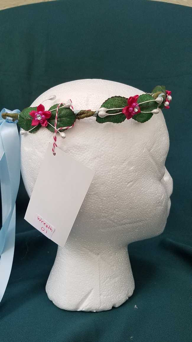 Hair Wreath - Adjustable Size - Flower Fairy - Fuschia Flowers - Blue Satin Ribbon - Wedding - Festival - Hand Made