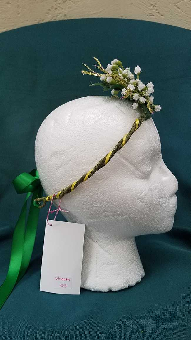 Hair Wreath - Adjustable Size - Fairy - White Flowers - Dark Green Satin Ribbon - Wedding - Festival - LARP - Hand Made