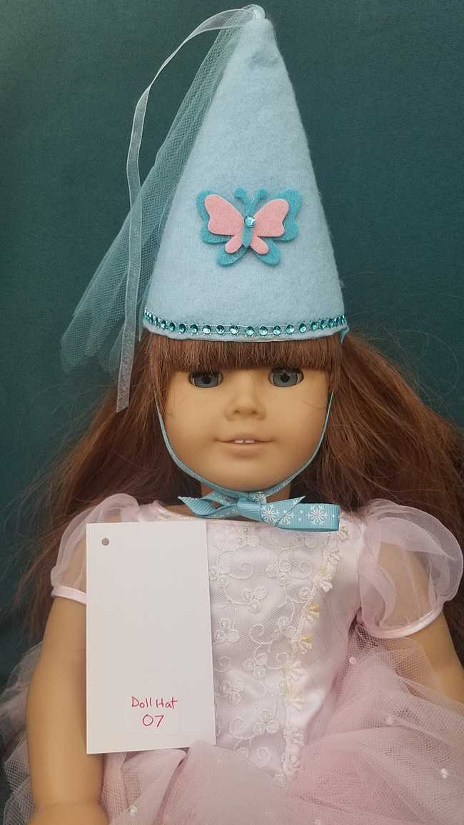 Fairy Princess Doll Hat - Light Blue - Pink Butterfly - Doll Clothes - Fits 18
