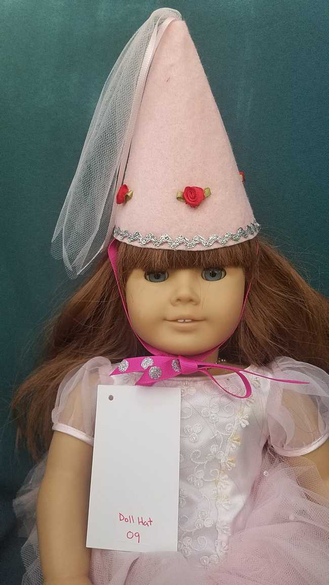 Fairy Princess Doll Hat - Pink - Pink Roses - Doll Clothes - Fits 18