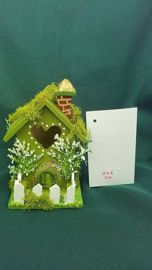 Miniature Moss Green Fairy House with White Picket Fence  5 inches Tall