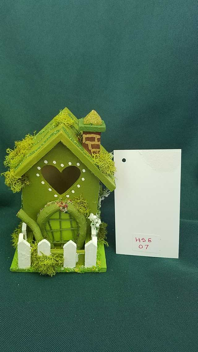Miniature Moss Green Fairy House with Flowers and Pearls 5 inches Tall