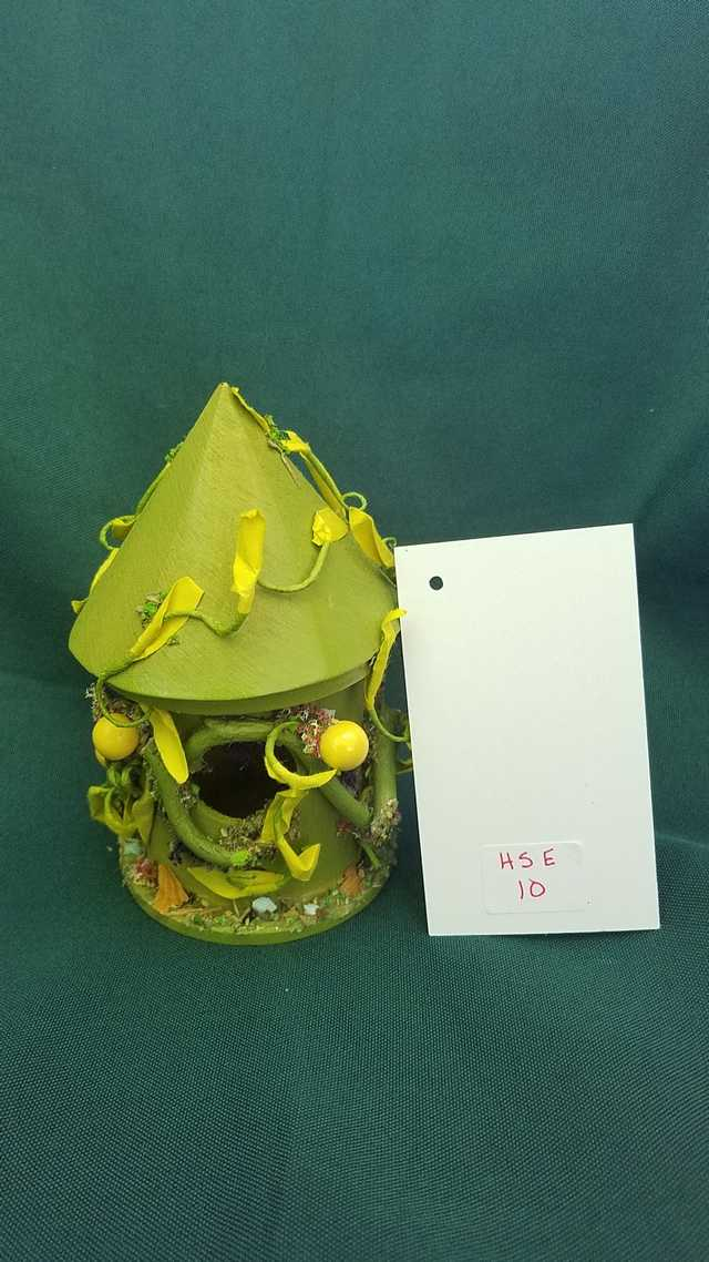Miniature Moss Green Fairy House with Green Vines 5 inches Tall