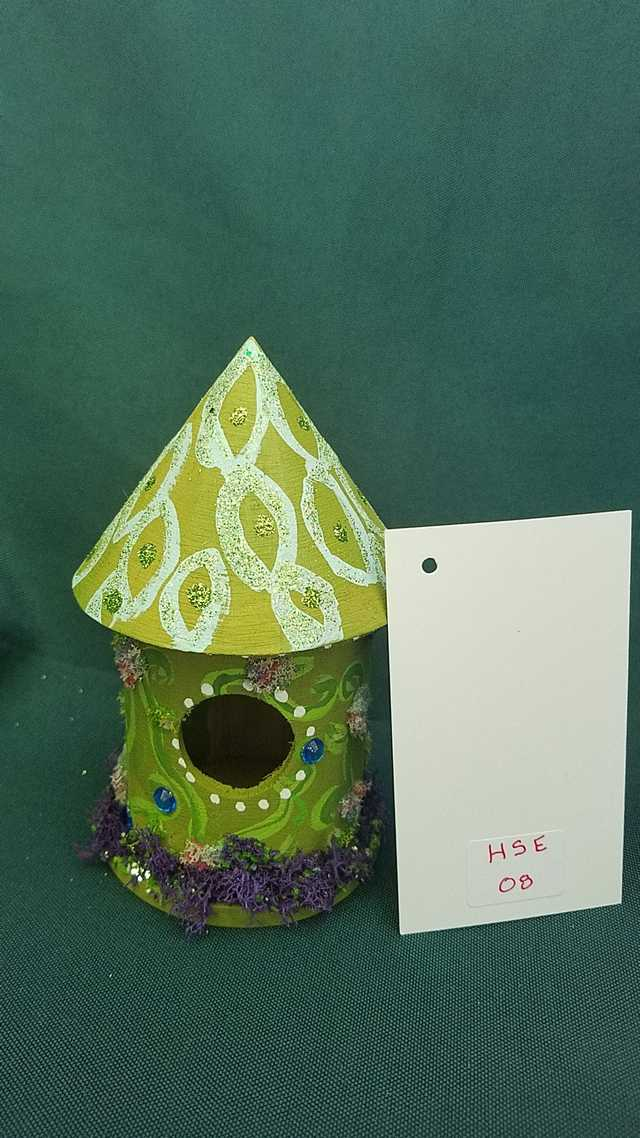 Miniature Moss Green Fairy House with Hand Painted Vines  5 inches Tall
