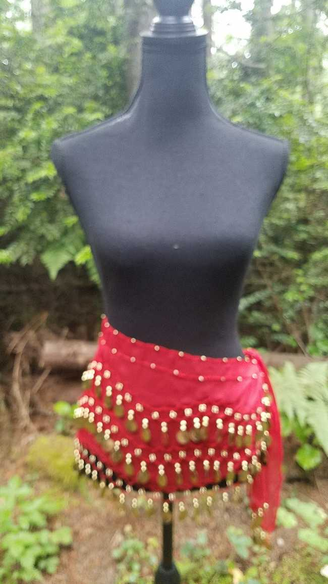 Hip Scarf - Red - Chiffon - 3 Rows Gold Coins - Belly Dance - Exotic - Costume