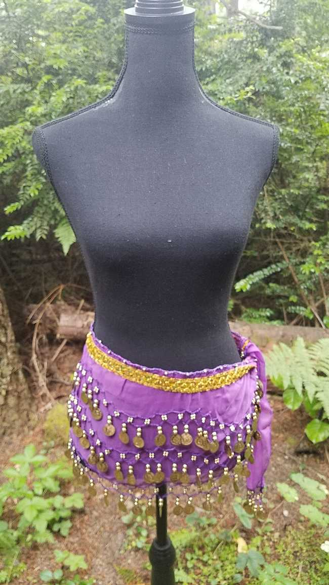 Hip Scarf - Purple - Chiffon - 3 Rows Gold Coins - Belly Dance - Exotic - Costume