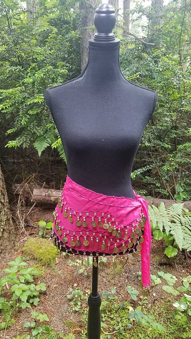 Hip Scarf - Fuschia - Chiffon - 3 Rows Gold Coins - Belly Dance - Exotic - Costume