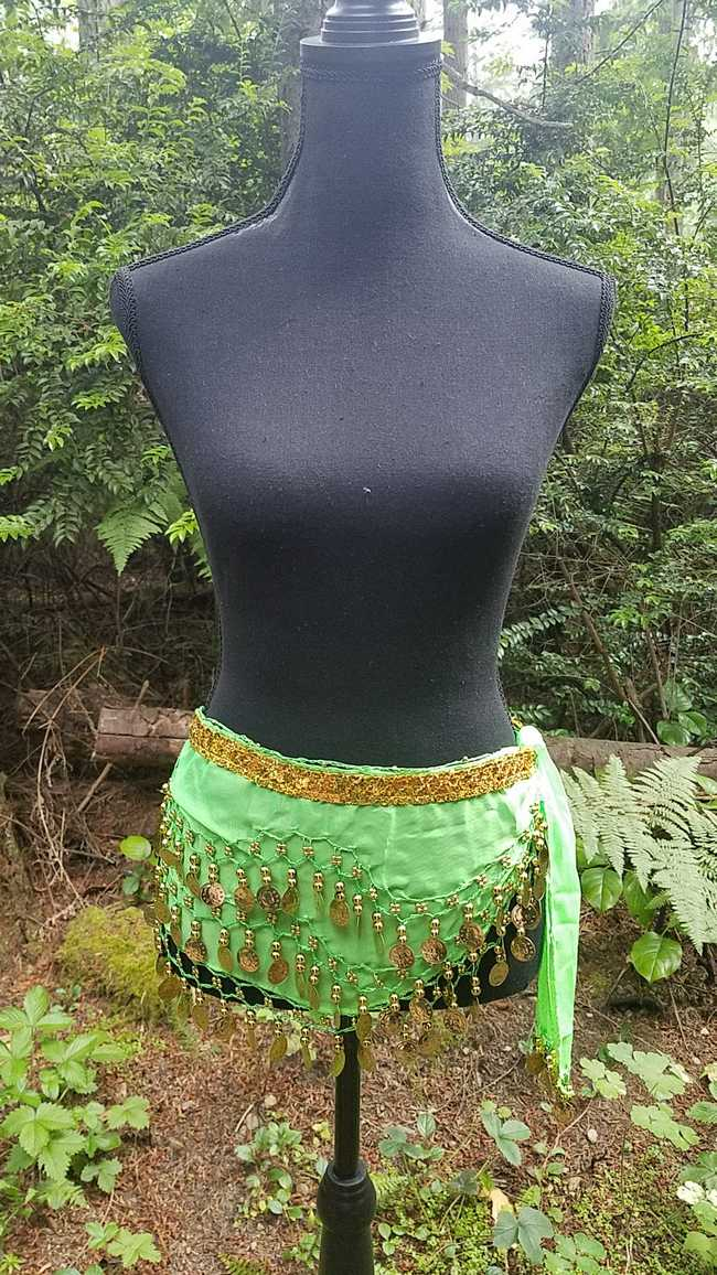 Hip Scarf - Neon Green - Chiffon - 3 Rows Gold Coins - Belly Dance - Exotic - Costume