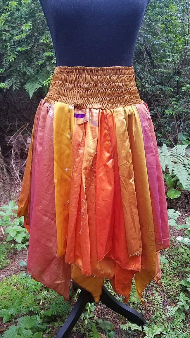Goldenrod, Brown  and Orange Unique Multiple Layered Panels Skirt with Silky Exotic Colorful Fabric - One Size