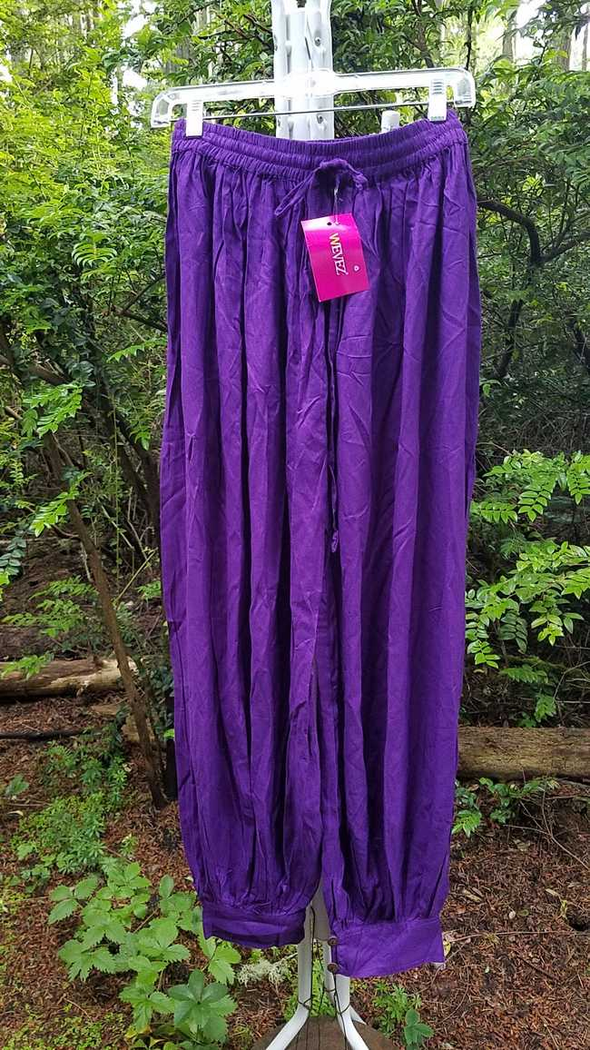 Harem Pants - Adult XL - Plus Size - Purple Cotton - Belly Dance - Button Cuffs - Elastic Waist - Wide Legs - One Size