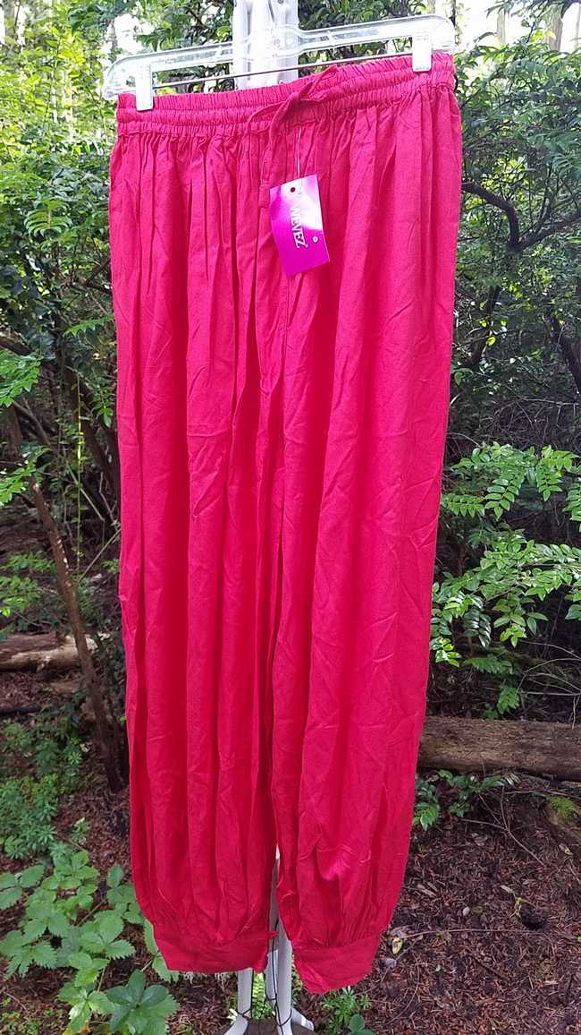 Harem Pants - Adult XL - Plus Size - Red Cotton - Belly Dance - Button Cuffs - Elastic Waist - Wide Legs - One Size