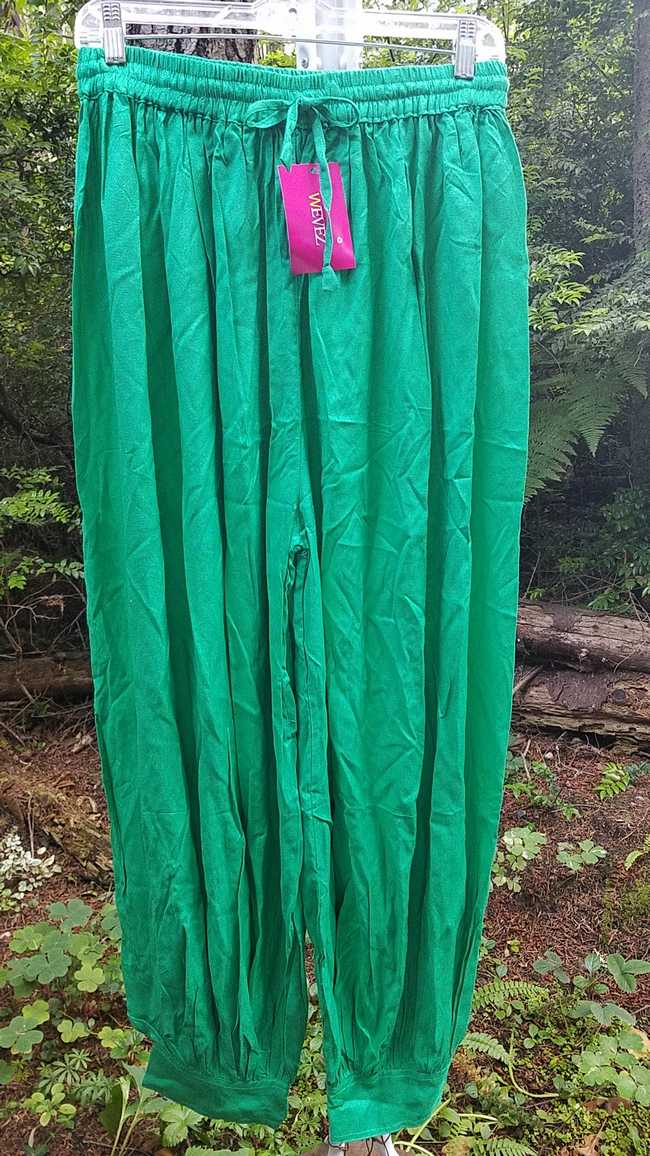 Harem Pants - Adult XL - Plus Size - Green Cotton - Belly Dance - Button Cuffs - Elastic Waist - Wide Legs - One Size