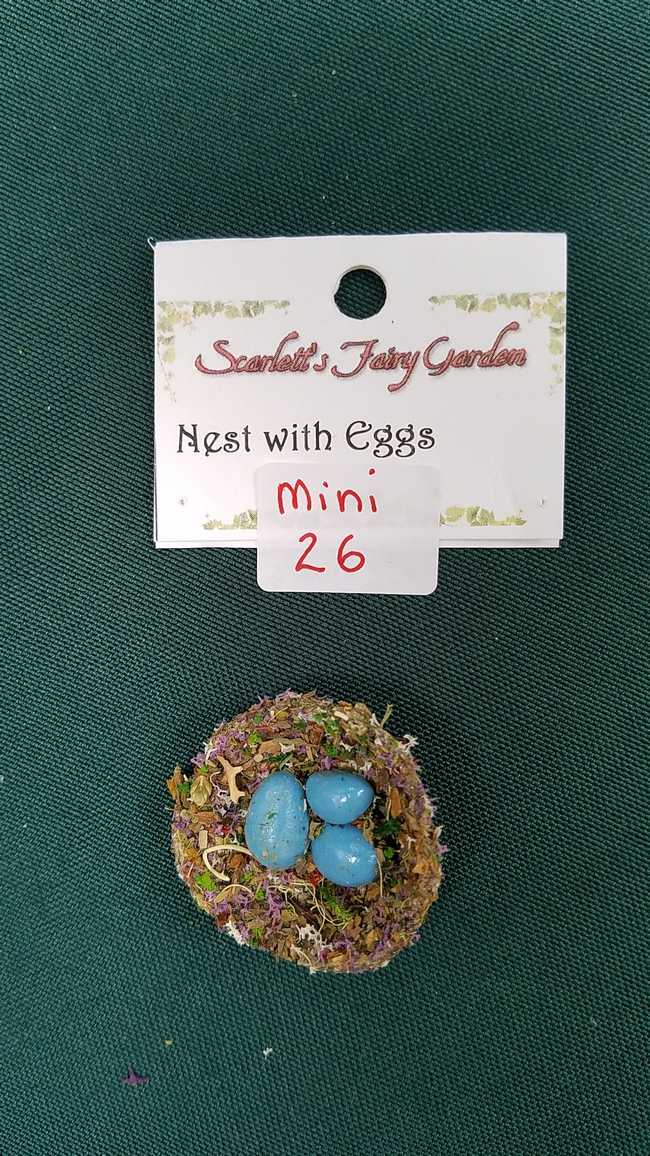 Miniature Dried Flower Bird Nest with Three Tiny Blue Eggs