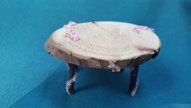 Miniature Wooden Table - Oval  - Flowers - Fairy Garden -  Dollhouse - Fairy - 2.5