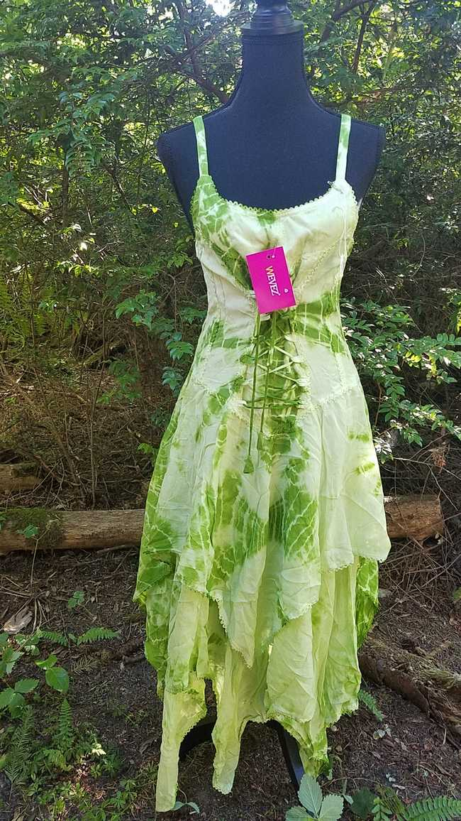 Tie Dye Dress - Dark Green & Light Green - Layered Skirt - Lace Up Corset Style - Rayon - One Size