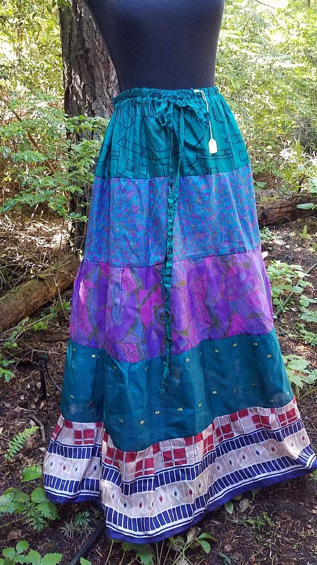Maxi Skirt -  Purple/Green/Brown - Elastic Waist - 8 Tiers - Indian - Banjara - Tribal - Festival - Silk - One Size