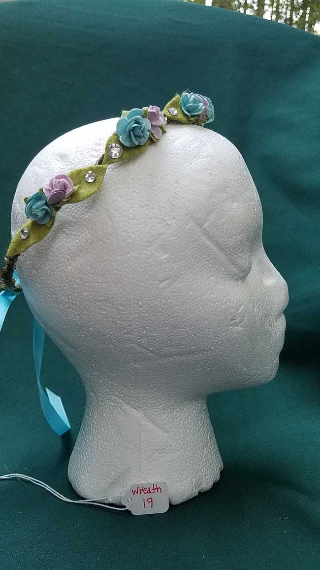 Flower Fairy Hair Wreath - Lavender & Blue Flowers/Blue Satin Ribbon - Wedding Festival - Adjustable Size