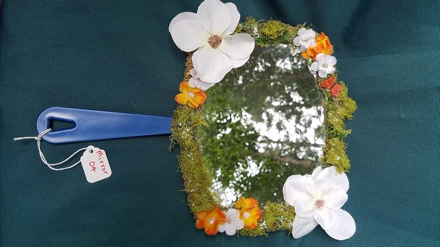 Mirror - Square Shape - Green Moss Covered - White/Orange Flowers - Orange Butterfly - Sparkles - 11