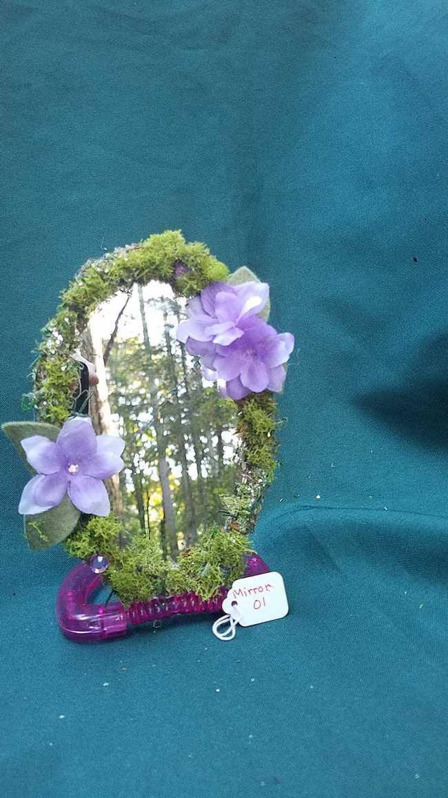 Mirror - Oval Shape - Moss Covered - Pink Base - Purple Flowers -  Sparkles - 6