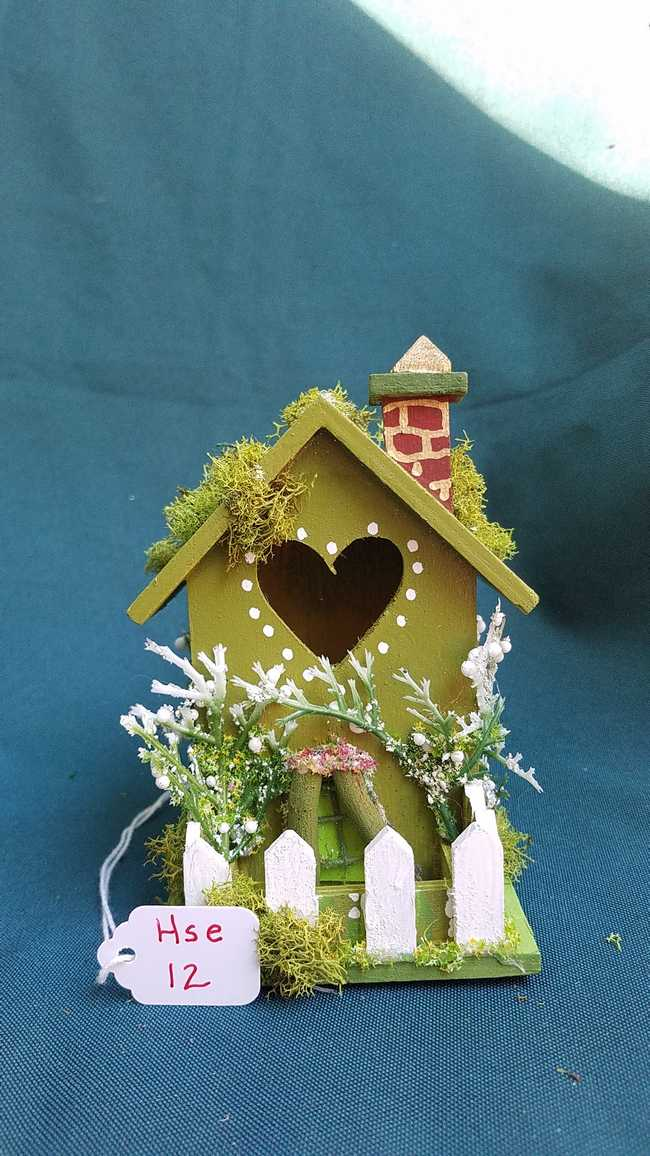 Miniature Wood Fairy House - Moss Green - Chimney - Picket Fence - Vines -  Fairy Garden - 5