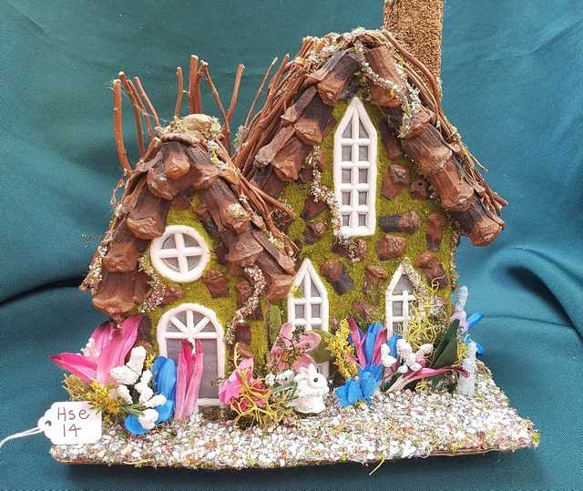 Fairy House - White Bunny - Blue/Pink/White Flowers - Twig Tree - Windows - Chimney - 8.5