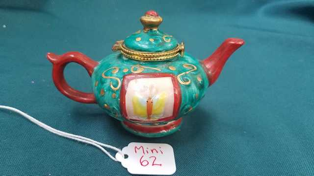 Miniature Teapot - Vintage - Turquoise with Gold Trim - Yellow Butterflies -  Gold Swirls - 2.5'' High