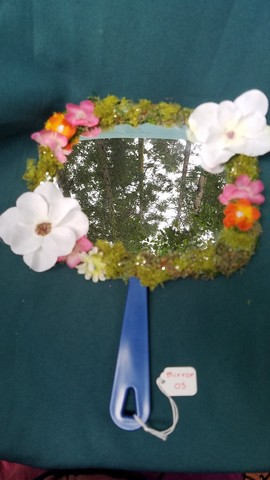 Mirror - Square Shape - Moss Covered - White/Orange/Pink Flowers - Orange Butterfly - Sparkles - 11'' Tall - Hand Made