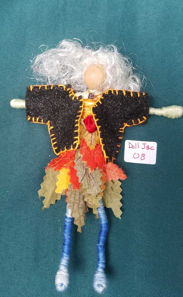 Fairy Doll Jacket - Miniature - Black Felt - Doll Clothes - Hanger Included - 2