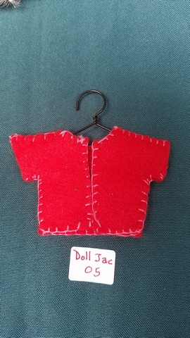 Fairy Doll Jacket - Miniature - Red Felt - Doll Clothes - Hanger Included - 2