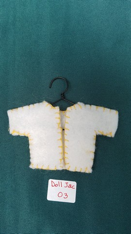 Fairy Doll Jacket - Miniature - White Felt - Doll Clothes - Hanger Included - 2