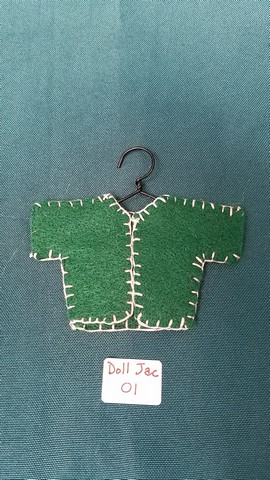 Fairy Doll Jacket - Miniature - Green Felt - Doll Clothes - Hanger Included - 2