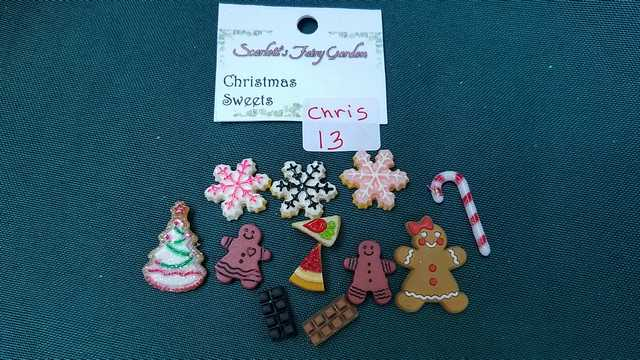 Miniature Christmas Sweets - 12 Piece Set - Gingerbread Men - Candy Cane - Cookies - Barbie - Fairy - 1:12 Scale