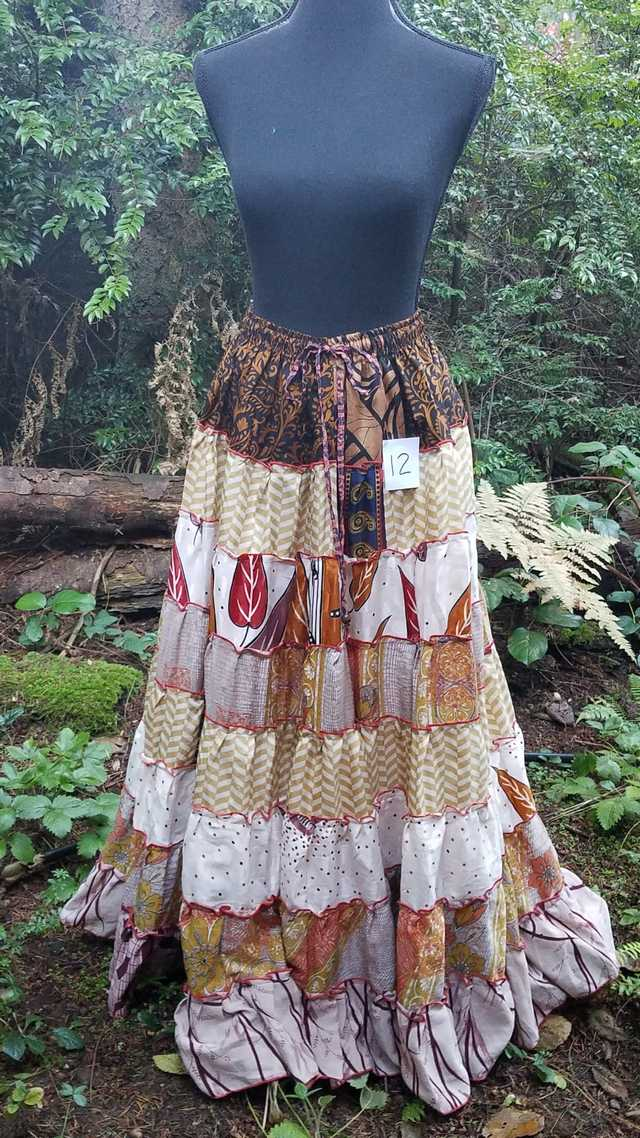 Maxi Skirt - Brown/Ivory/Black - Elastic Waist - 8 Tiers - Indian - Banjara - Tribal - Festival - Silk - One Size