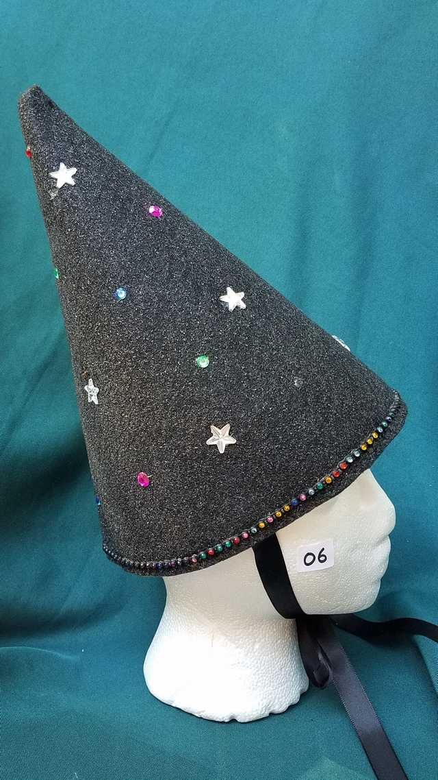 Wizard or Witch Hat - Black Sparkly Felt - Stars & Gems -  Costume - 11'' Tall - One Size - Hand Made