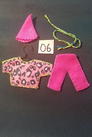 Miniature Fairy Doll Clothes - 5 Piece Set - Pink Leopard -  Pants - Shirt  - Small Dolls -  Handmade